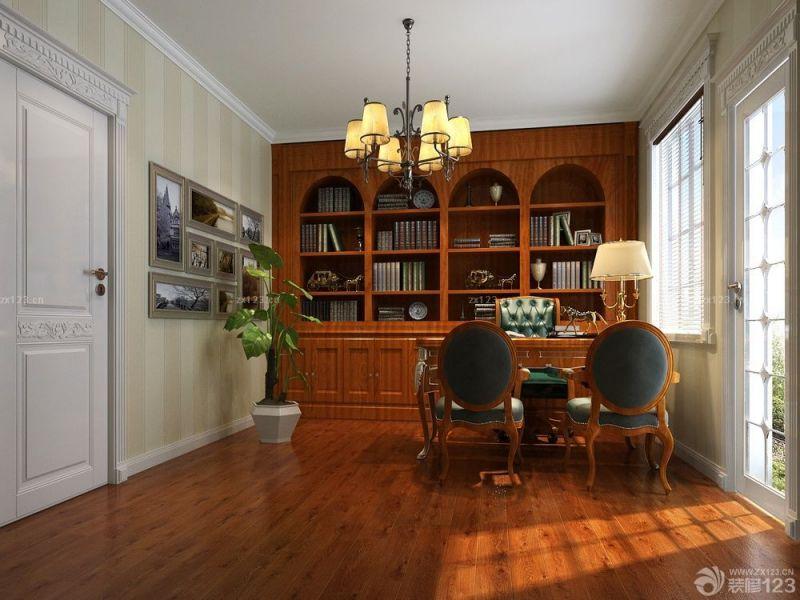 简约美式实木书桌书柜组合设计案例大全