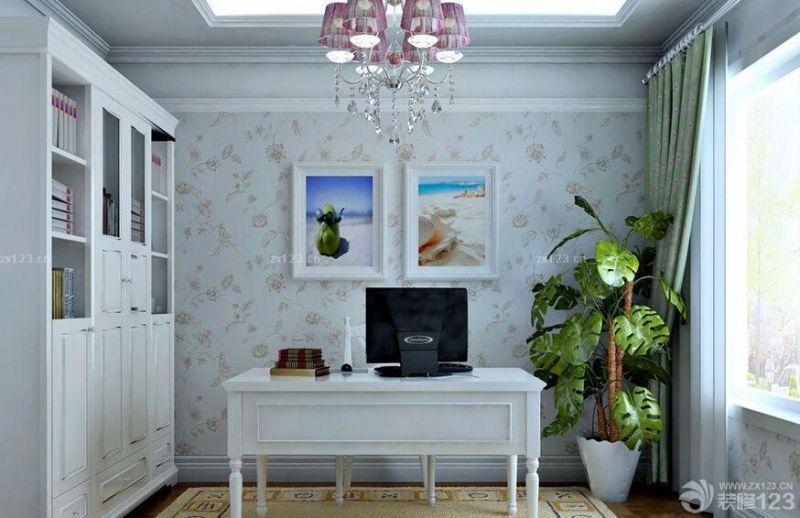 书房布置背景墙壁纸效果图片