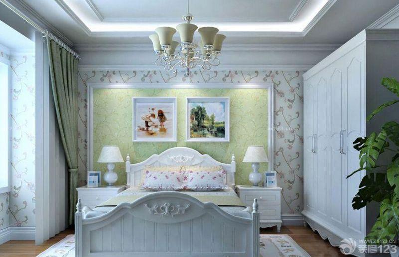最新田园风格家居主卧室床头背景墙装修图片大全