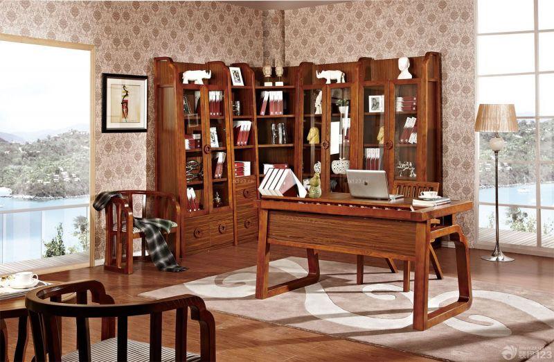 最新中式混搭家庭书房书柜装修效果图