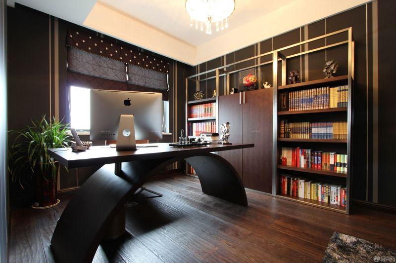 时尚混搭风格书房布置实木家具设计图片
