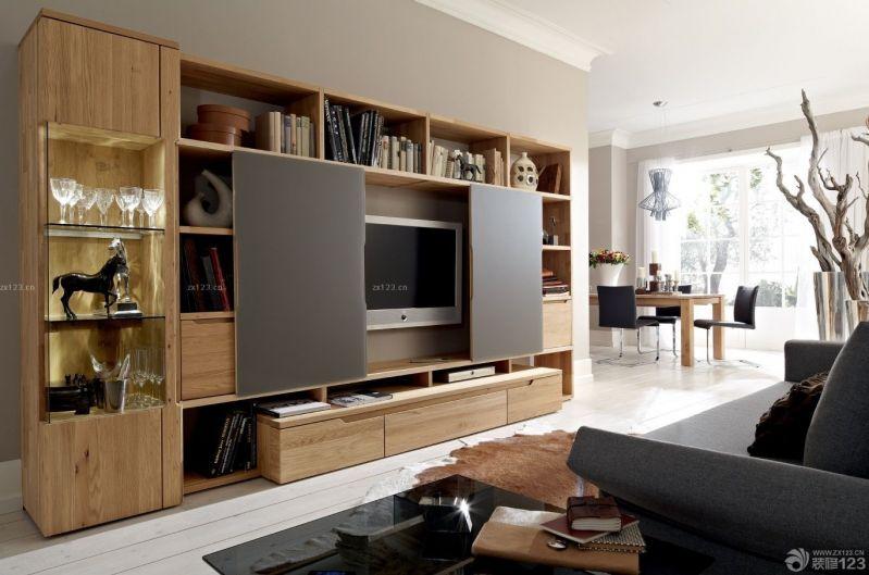 现代风格90平米家装实木电视柜设计