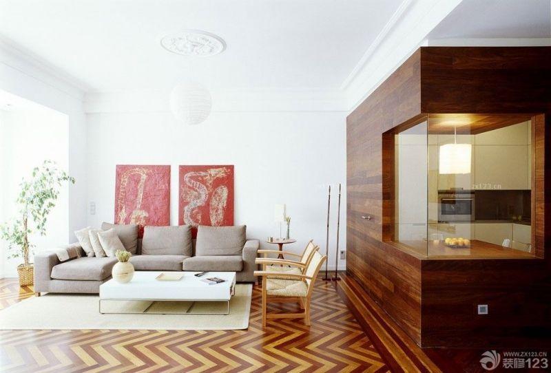 最新经典一室一厅单身公寓客厅木质隐形门装饰图片欣赏
